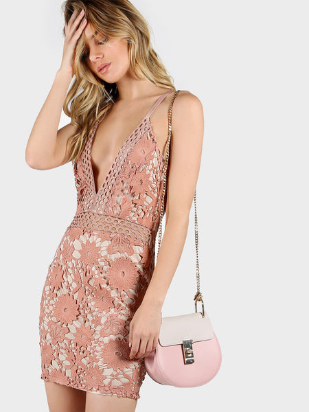 Nude Lace Overlay Cami Straps Deep V-Neck Bodycon Dress