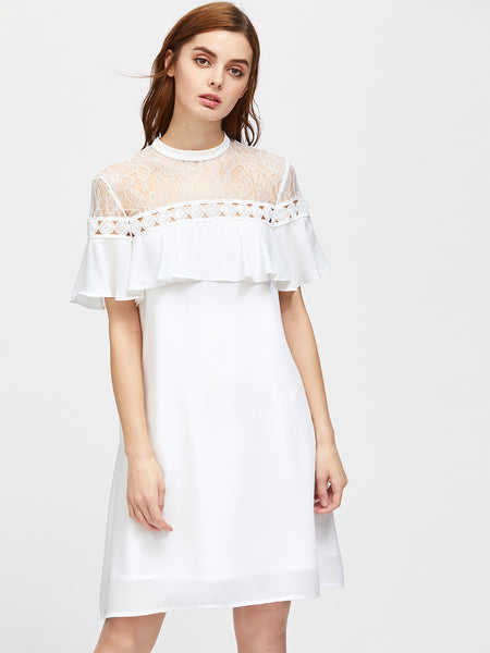 White Round Neck Lace Shoulder Tie Back Frill Dress