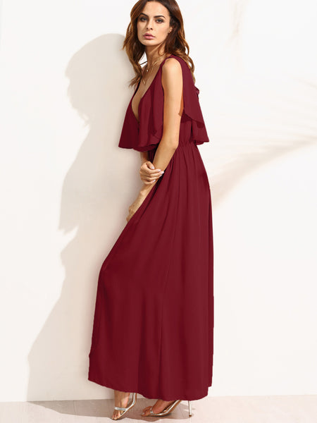 Burgundy V-Neck Elastic Waist Cape Maxi Dress