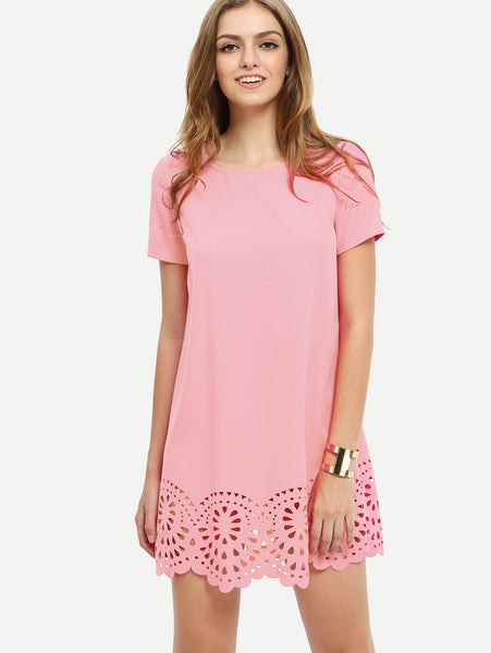 Pink Laser Cut Short sleeve Scallop Edge Dress