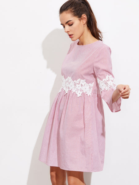Pink Round Neck Floral Lace Pinstripe Flute Sleeve Dress