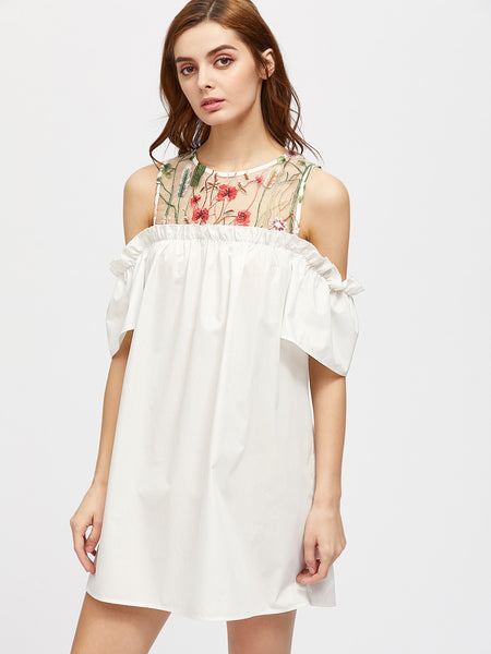 White Cold Shoulder Embroidered Mesh Frill Dress