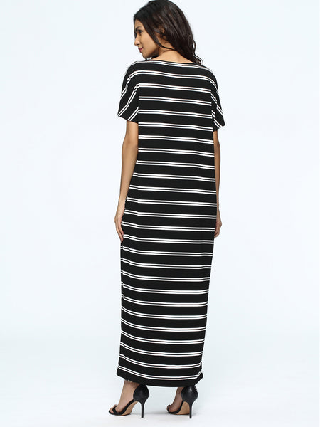 Black Striped Round Neck With Pockets Full Length Dress