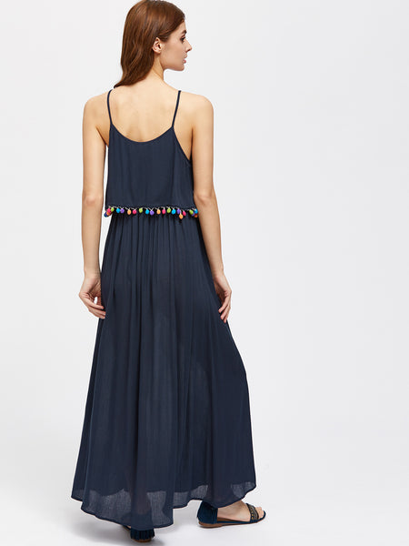 Navy Spaghetti Strap Double Layer Pom Pom Trim Dress
