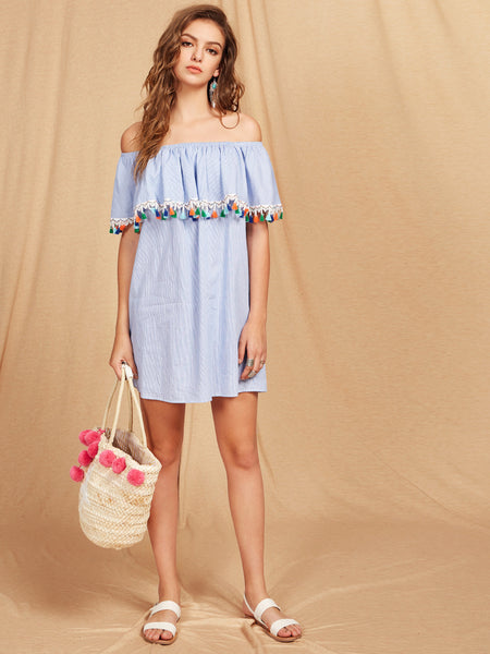 Blue Off Shoulder Tassel Trim Pinstripe Mini Dress