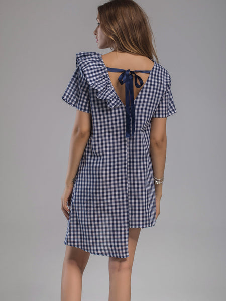 Navy Checkered Print Frill Trim Asymmetrical Hem Dress