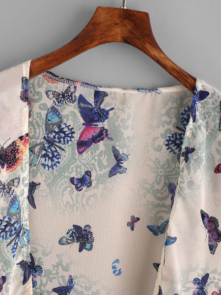 Multicolor Butterfly Print Tassel Trim Top