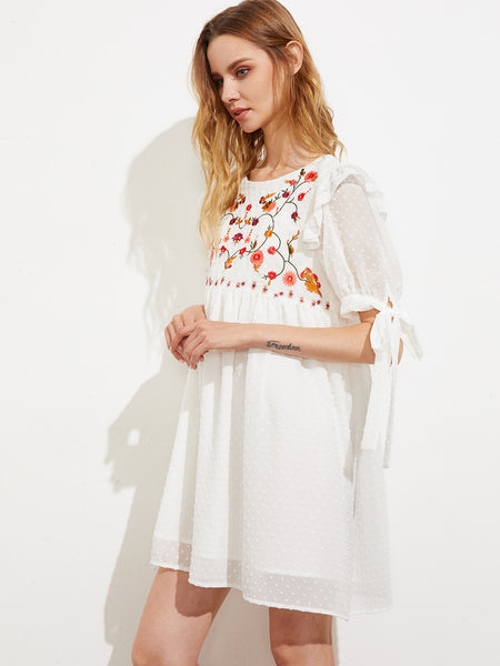 White Embroidered Yoke Tie Short Sleeve Babydoll Dress