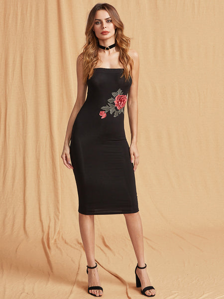 Black Rose Embroidered Bandeau Bodycon Dress