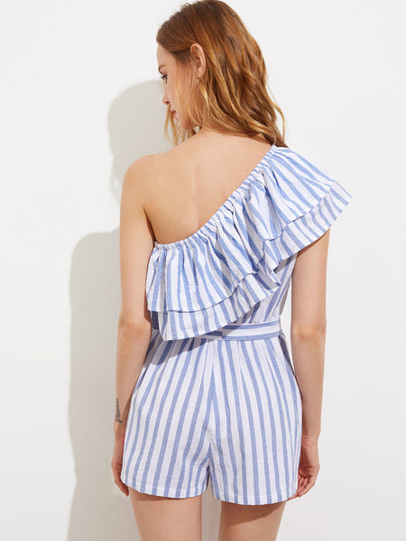 Blue Striped One Shoulder Self-Tie Layered Playsuit