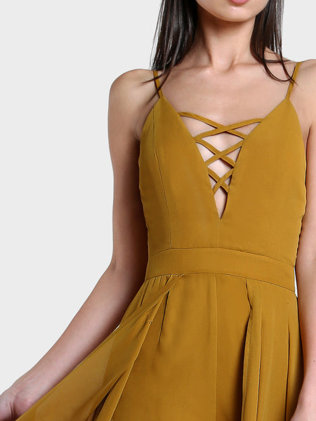 Yellow Deep V-Neck Crisscross Zip Back Skort Romper