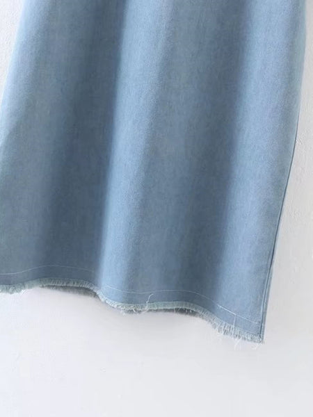 Blue Denim Front Pocket Frayed Keyhole Back Dress