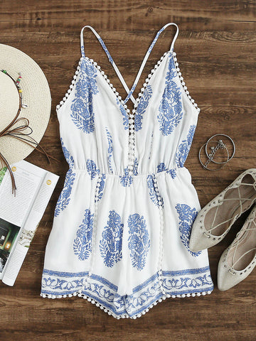 White Leaf Print Pom Pom Trim Cross Back Romper