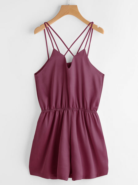 Burgundy V-Neck Cross Back Elastic Waist Cami Romper