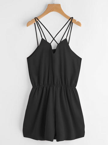 Black V-Neck Cross Back Elastic Waist Cami Romper