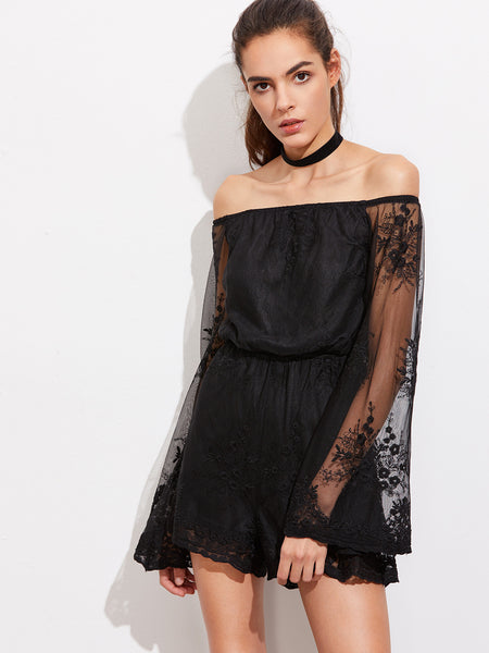 Black Off Shoulder Fluted Sleeve Lace Embroidered Mesh Romper