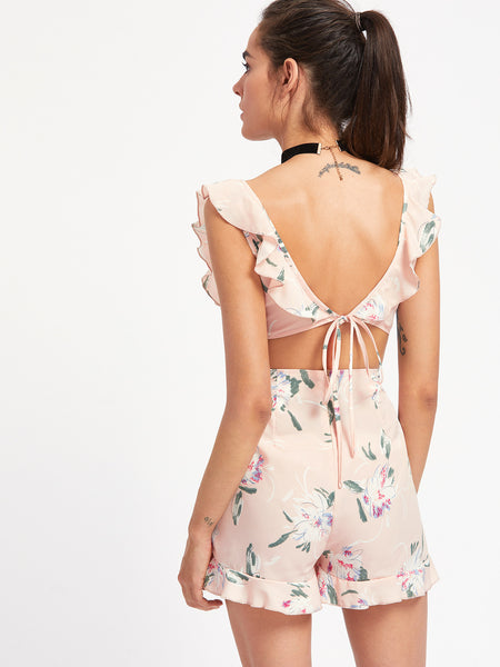 Pink Floral Sleeveless V-Neck Backless Tie Cutout Playsuit
