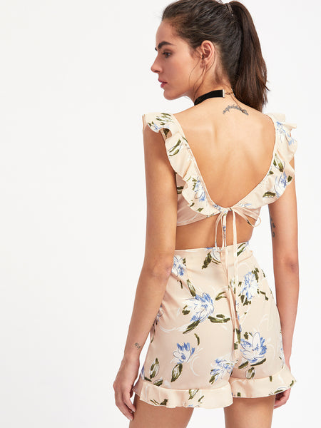 Apricot Floral Sleeveless V-Neck Backless Tie Cutout Playsuit