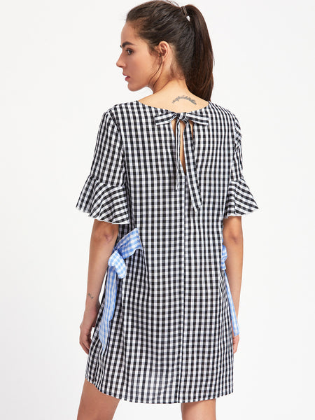 Black Round Neck Contrast Side Tie Fluted Sleeve Gingham Dress