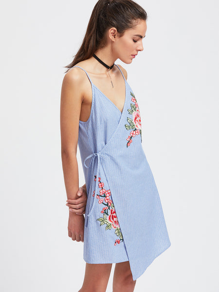 Blue Pinstripe Floral Embroidery Asymmetric Wrap Dress