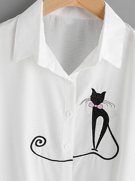 White Cat Embroidered Cuffed Sleeve Front Knot Shirt