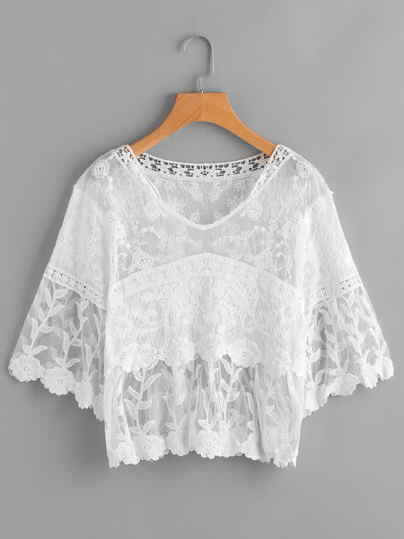 White Lace Panel Flare Sleeve Embroidery Cover Up