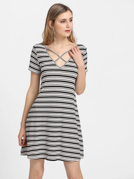 Black and White Striped Criss Cross V Neck Swing Tee Dress