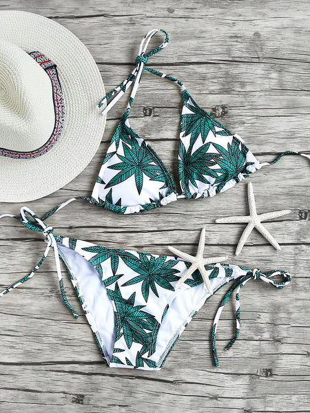 Green Triangle Leaf Print Side Tie Bikini Set