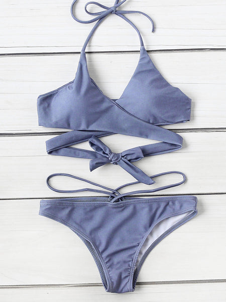Blue Push Up Halter Wrap Bikini Set