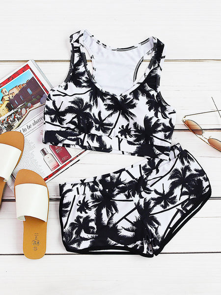 Black and White Racer Back Palm Tree Print Tankini Set