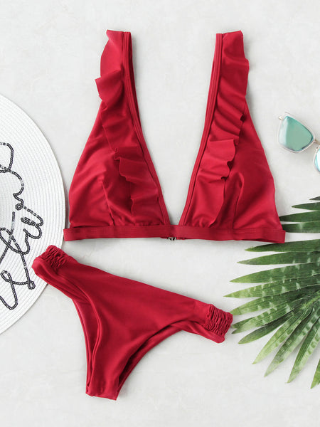 Red Plunge Neckline Frill Trim Bikini Set