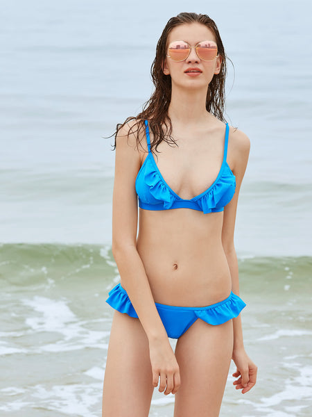 Blue Frill Trim Adjustable Strap Triangle Bikini Set