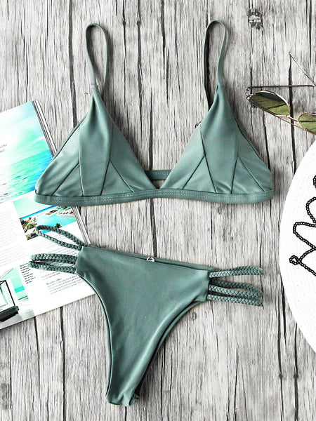 Green Triangle Braided Strap Cutout Seam Bikini Set