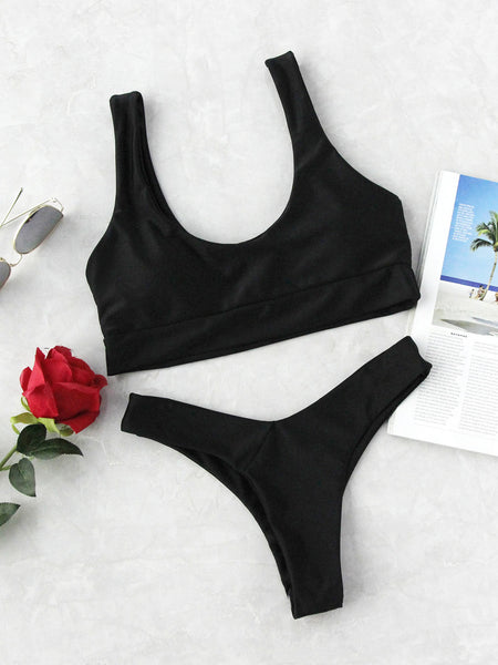 Black Scoop Neck High Leg Bikini Set