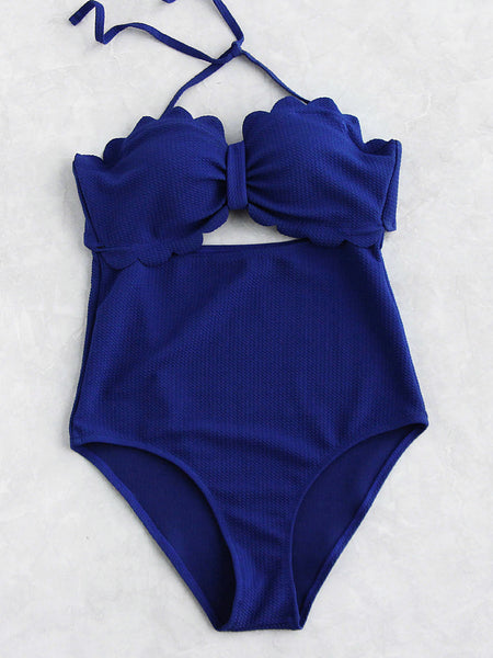 Blue Scalloped Trim Halter Neck Cut Out Bandeau Swimsuit