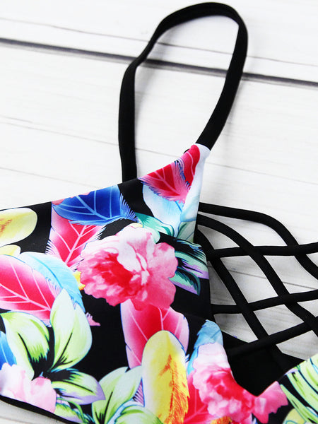 Multicolor Floral Print Criss Cross Ladder Cut Out Bikini Set