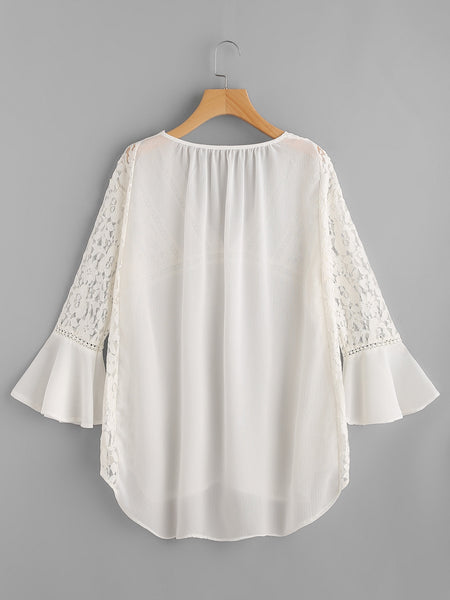 White Plunge Neckline Lace Insert Bell Sleeve Chiffon Cover Up