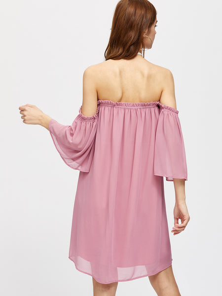 Pink Bell Sleeve Frill Off Shoulder Ruffle Dress