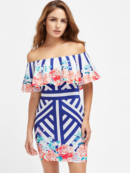 Blue Off Shoulder Stripe and Floral Print Bardot Dress