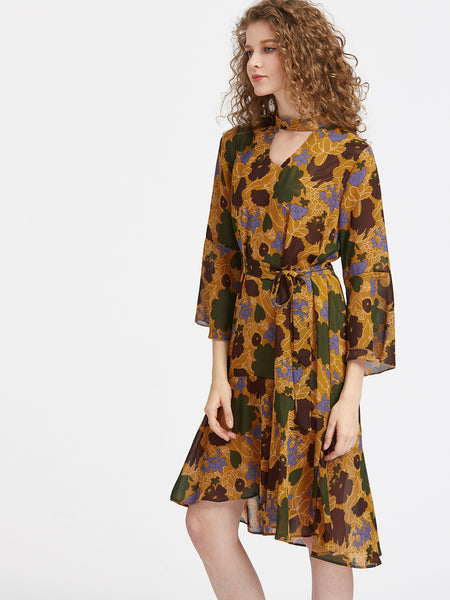 Yellow Floral Print 3/4 Sleeve V-Neck Tie Waist Midi Dress With Chocker Neck