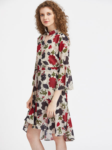 Apricot Floral Print 3/4 Sleeve V-Neck Tie Waist Midi Dress With Chocker Neck