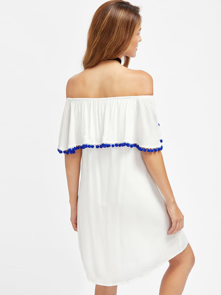 White Off Shoulder Pom Pom Trim Flounce Dress