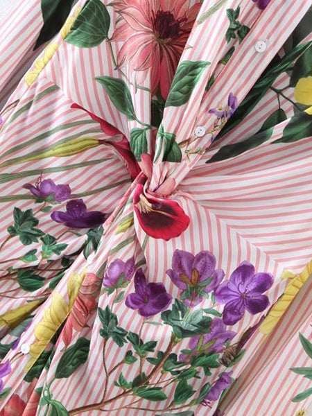 Pink Flower and Stripe Print Knot Front Shirt Dress