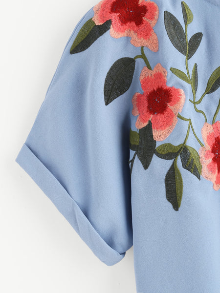 Blue Floral Embroidered Round Neck Cuffed Sleeve Top