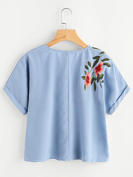 Blue Cuffed Sleeve Front and Back Flower Embroidered Top