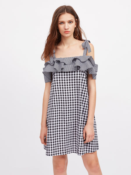 Black Cold Shoulder Self Tie Shoulder Layered Frill Gingham Dress