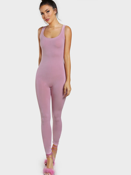 Pink Skinny Fit Scoop Neck Tank Jumpsuit