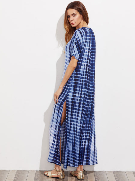 Blue Tie Dye V-Neck Tie Side Split Maxi Dress