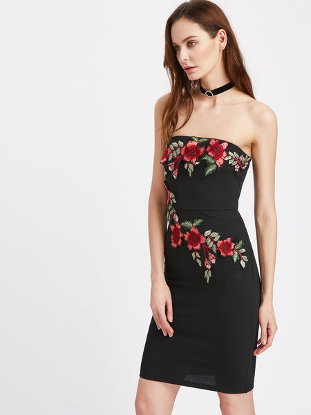 Black Strapless Embroidered Blossom Bandeau Dress