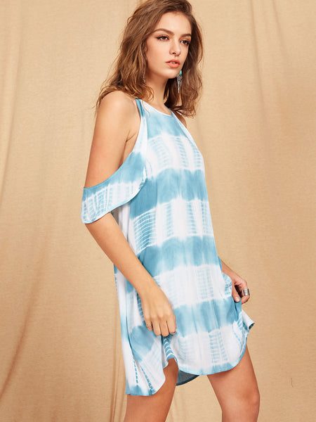Blue Tie Dye Cold Shoulder Back Hole A Line Dress